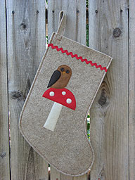 Owl on Mushroom Christmas Stocking